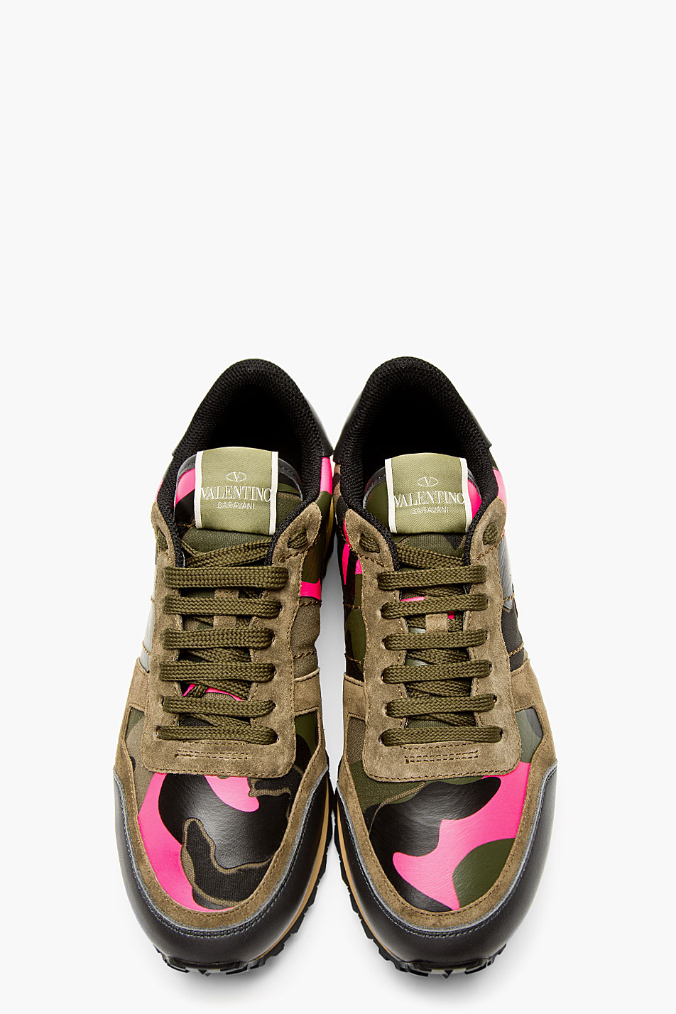 Valentino Green Camo Studded Running Shoes For Men Lyst