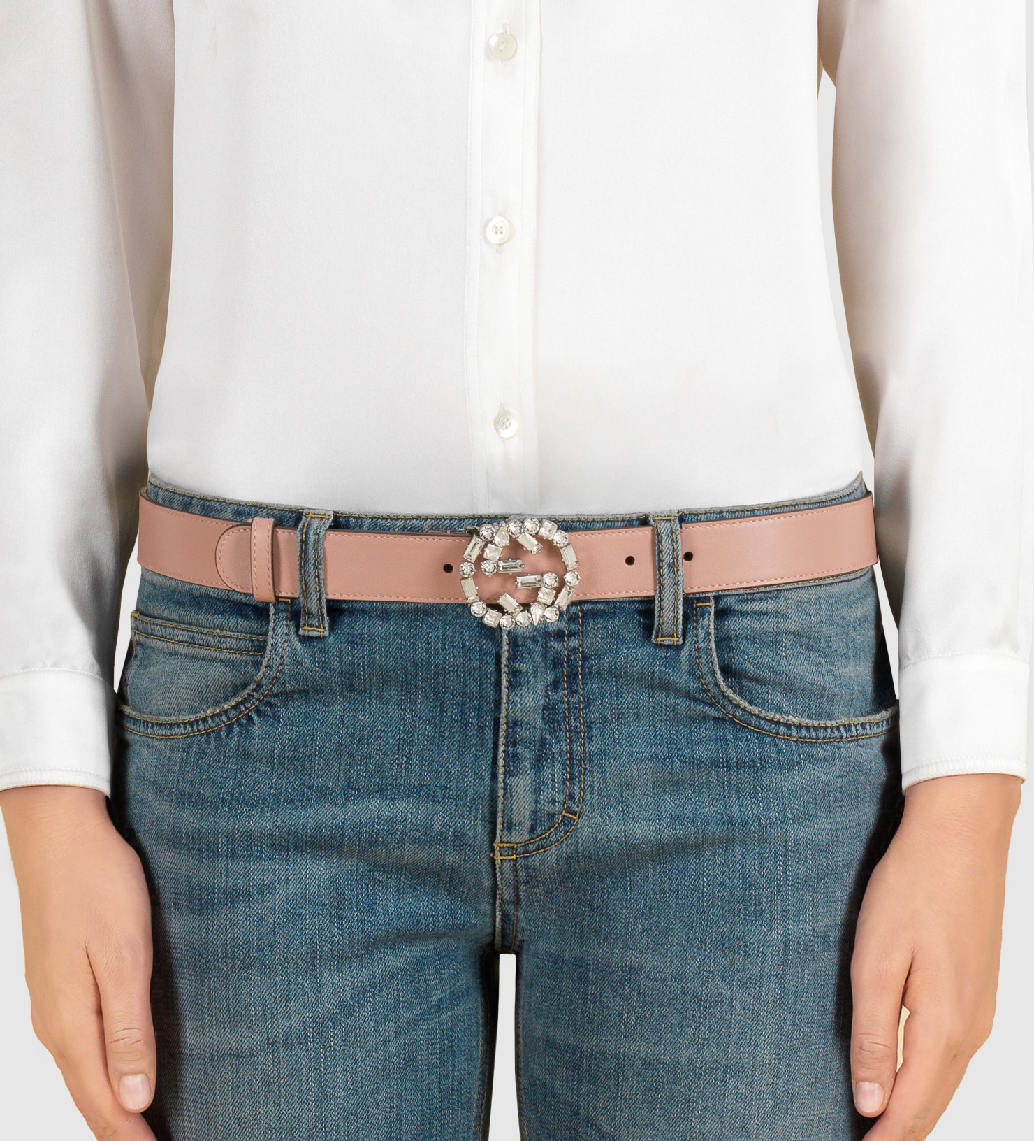 3bfec0d446b53 Lyst Gucci Pink Leather Belt With Crystal Interlocking G Buckle In Pink