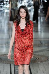 Giles Spring 2012 Red See Through Cowl Neck Evening Dress