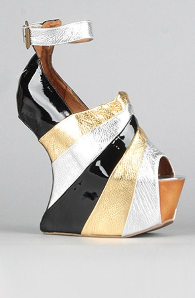 Jeffrey Campbell The Rockstar Shoe in Silver Gold Black Combo in Silver