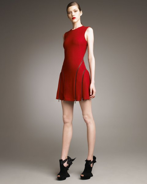 Lyst   Mcq Circle zip Dress in Red Gallery