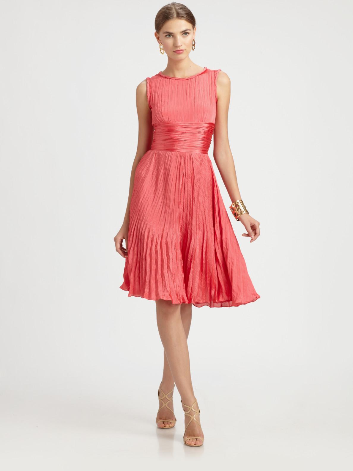 Oscar De La Renta Pleated Dress In Red Lyst