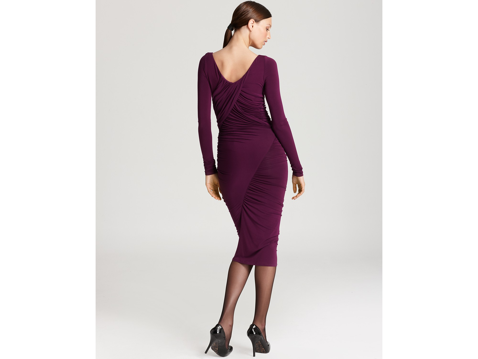 Donna Karan Ruched Long Sleeve Cowl Neck Dress In Purple