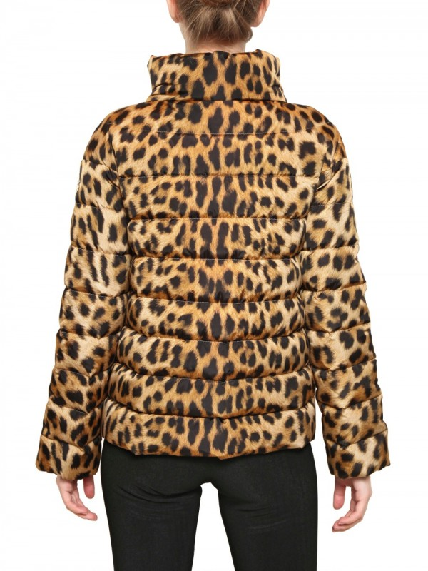 Moncler Gamme Rouge Leopard Print Quilted Nylon Down