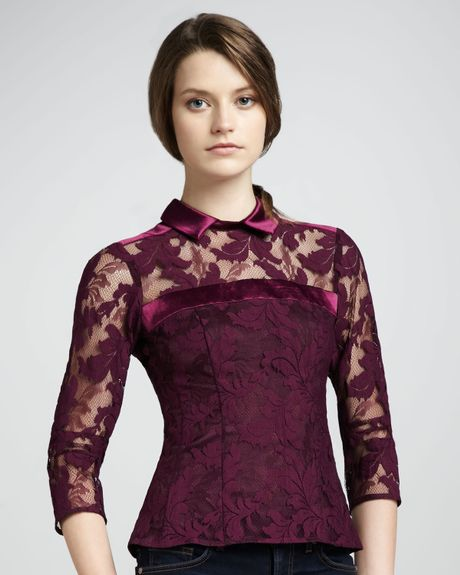 Nanette Lepore Flaming Love Lace Top Mulberry in Purple - Lyst