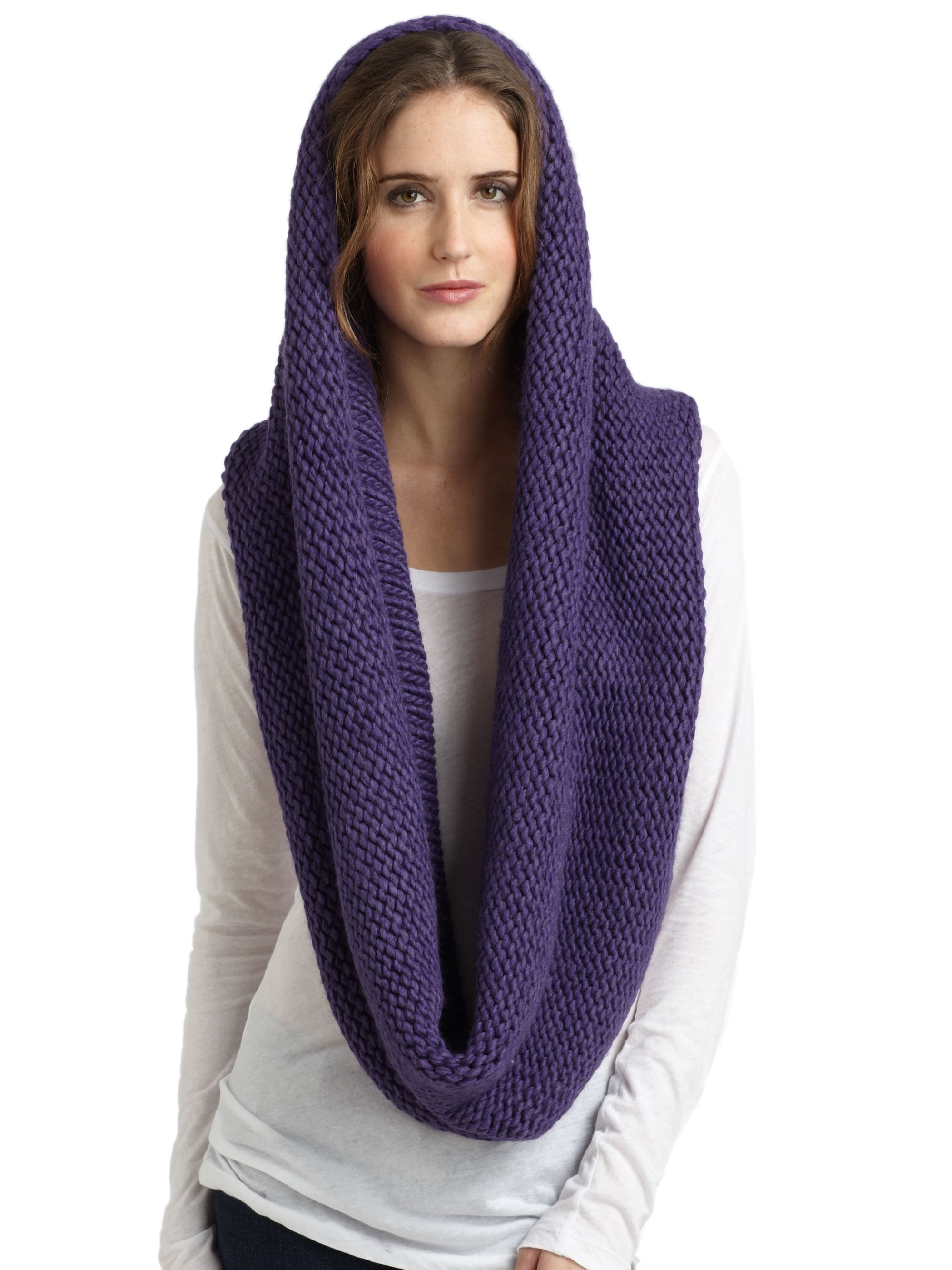 Portolano Chunky Knit Infinity Scarf In Purple