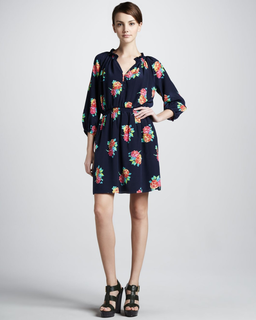 316156ba04 Lyst Shoshanna Fl Print Silk Shirtdress In Black
