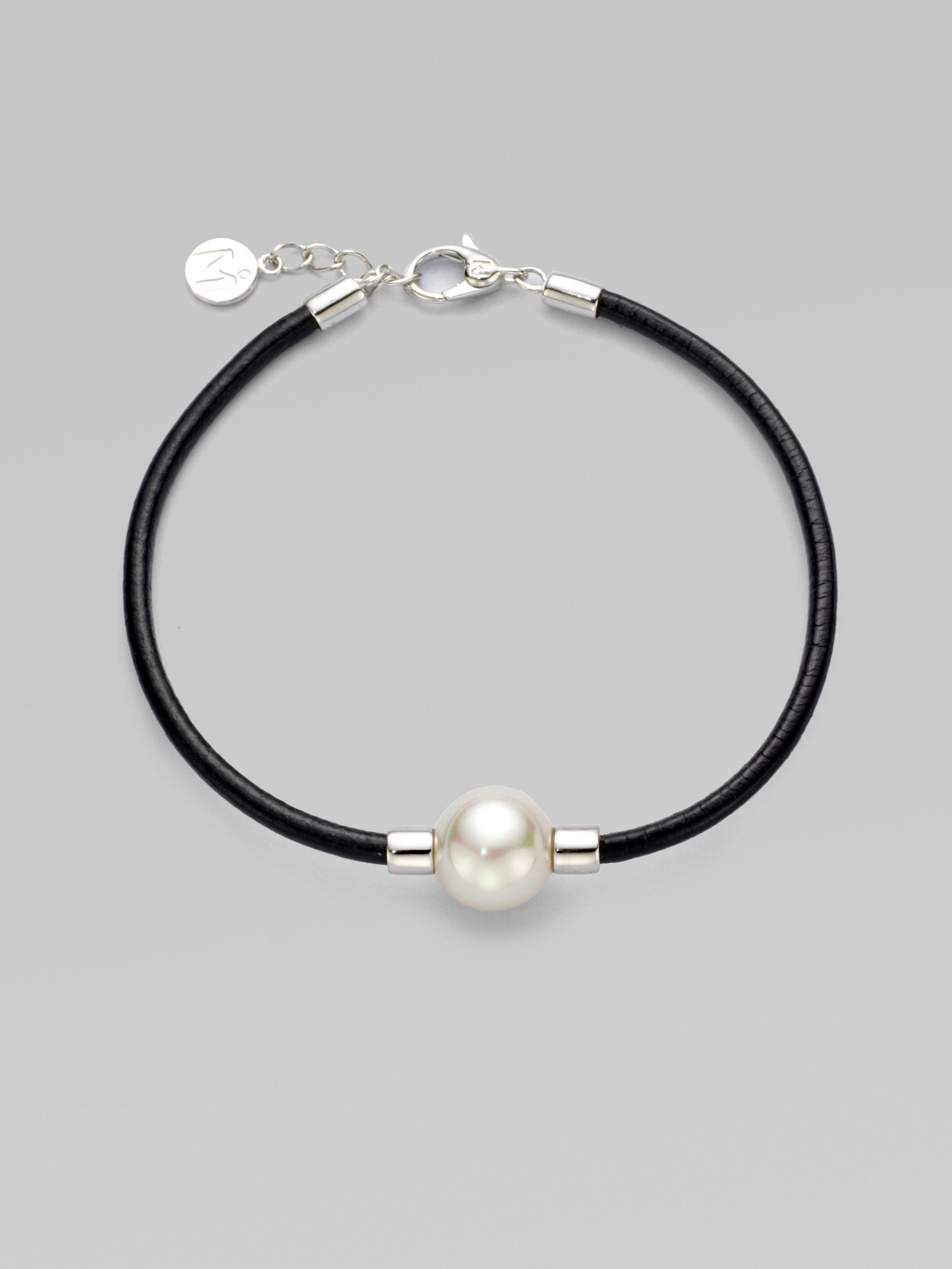 Majorica 12mm Round White Pearl Leather Bracelet In Black