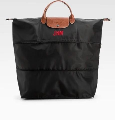 Longchamp Personalized Le Pliage Expandable Duffel in Brown (black)   Lyst