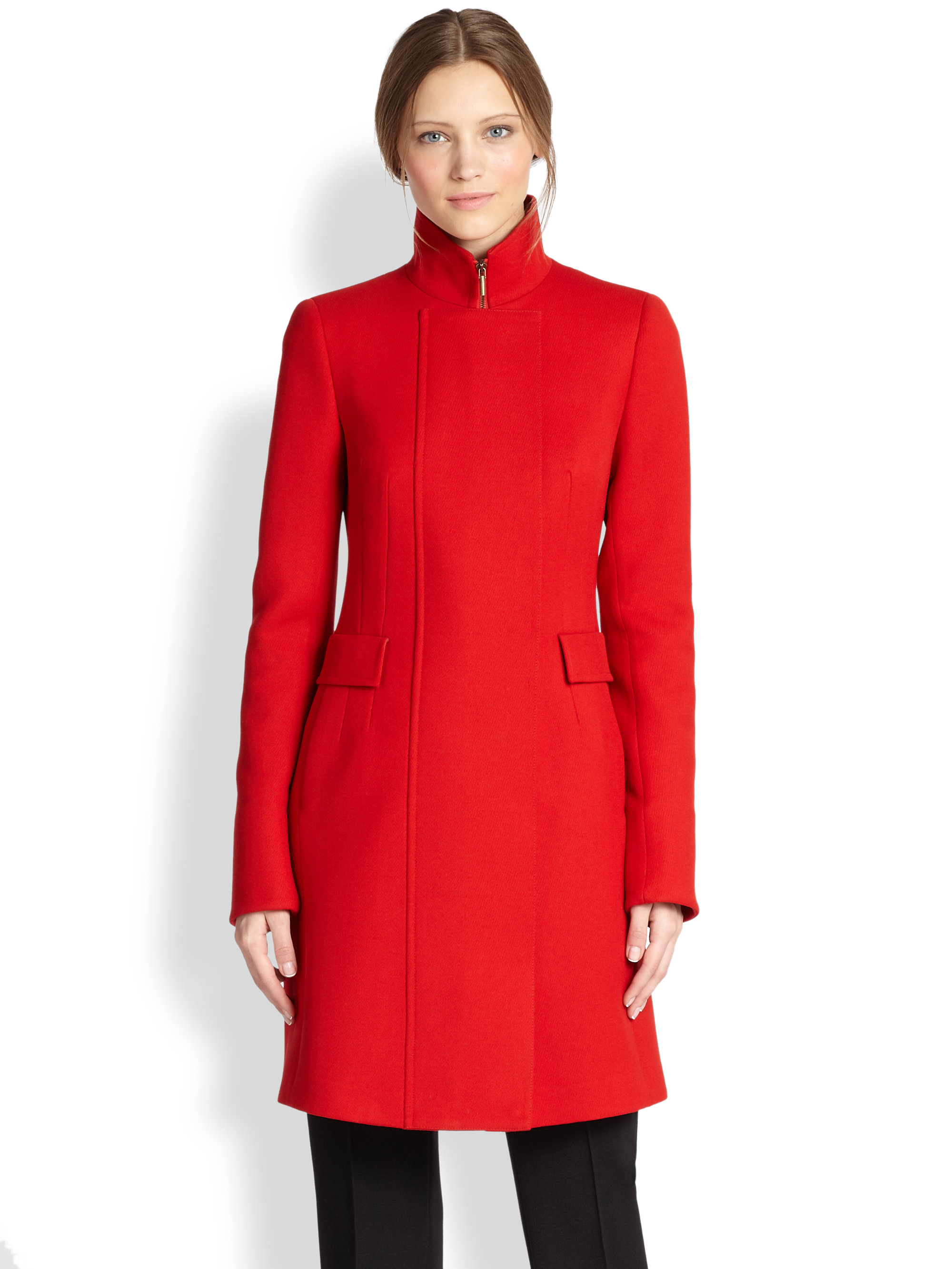 Akris Punto Wool Stand Collar Coat In Red Lyst