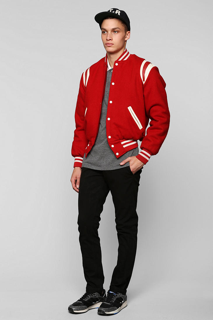 Urban Outfitters Vintage Red Varsity Jacket For Men