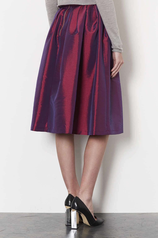 Lyst Topshop Taffeta Midi Skirt In Pink