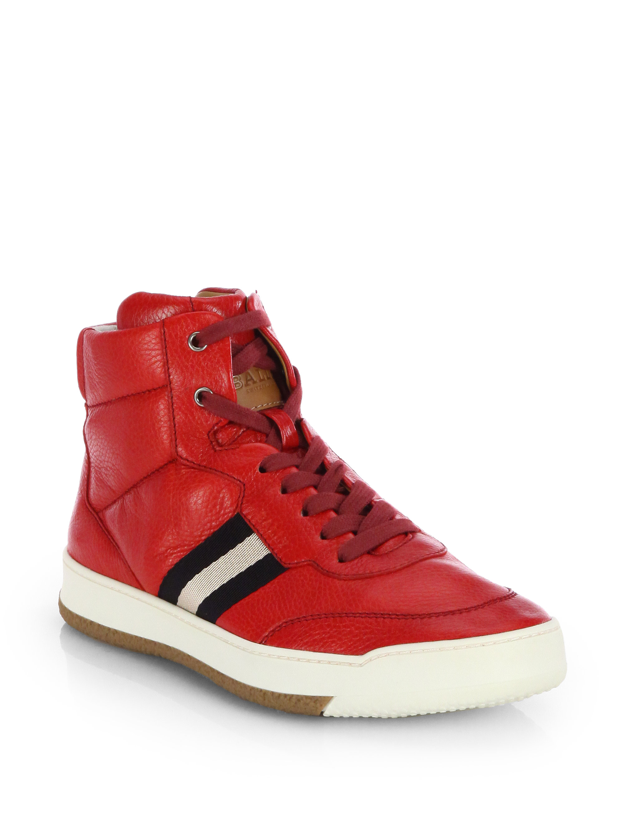 Bally Leather Hightop Sneakers In Red For Men Bally Red