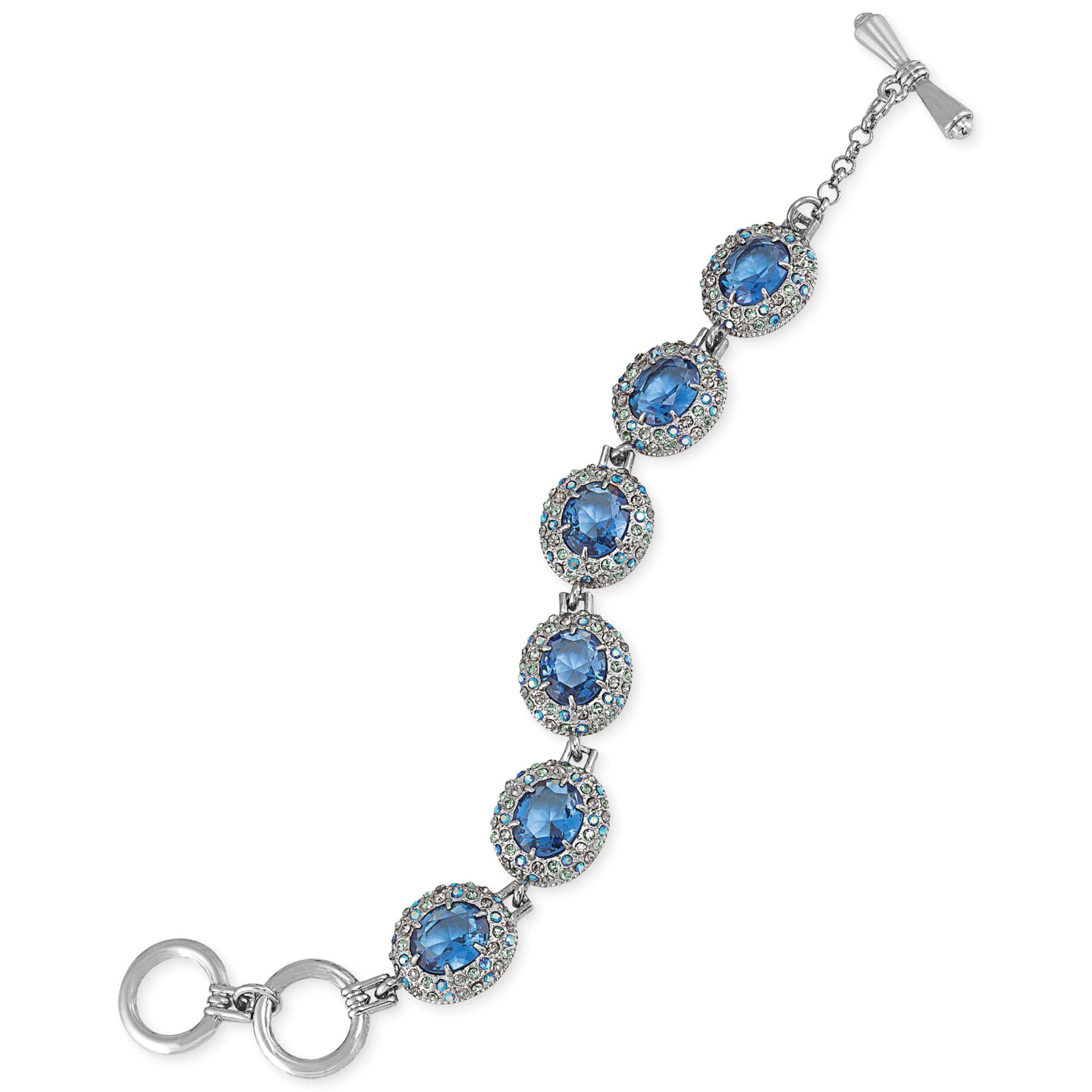 Carolee Silvetone Blue Pave Crystal Stone Toggle Bracelet