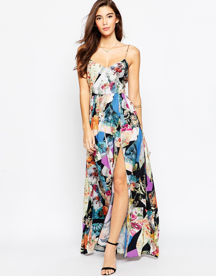 Asos Floral Maxi Dress With Sleeves