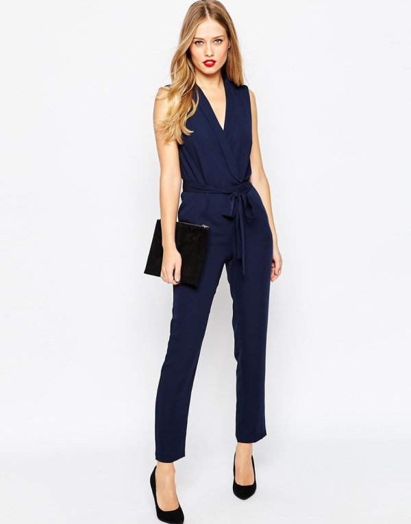 Asos Wrap Jumpsuit With Collar Detail - Navy in Blue | Lyst