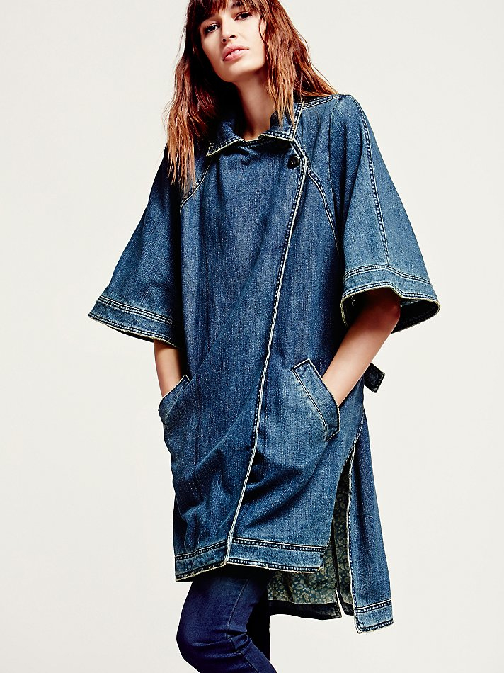 Free People Womens Kimono Sleeve Denim Jacket In Blue Lyst