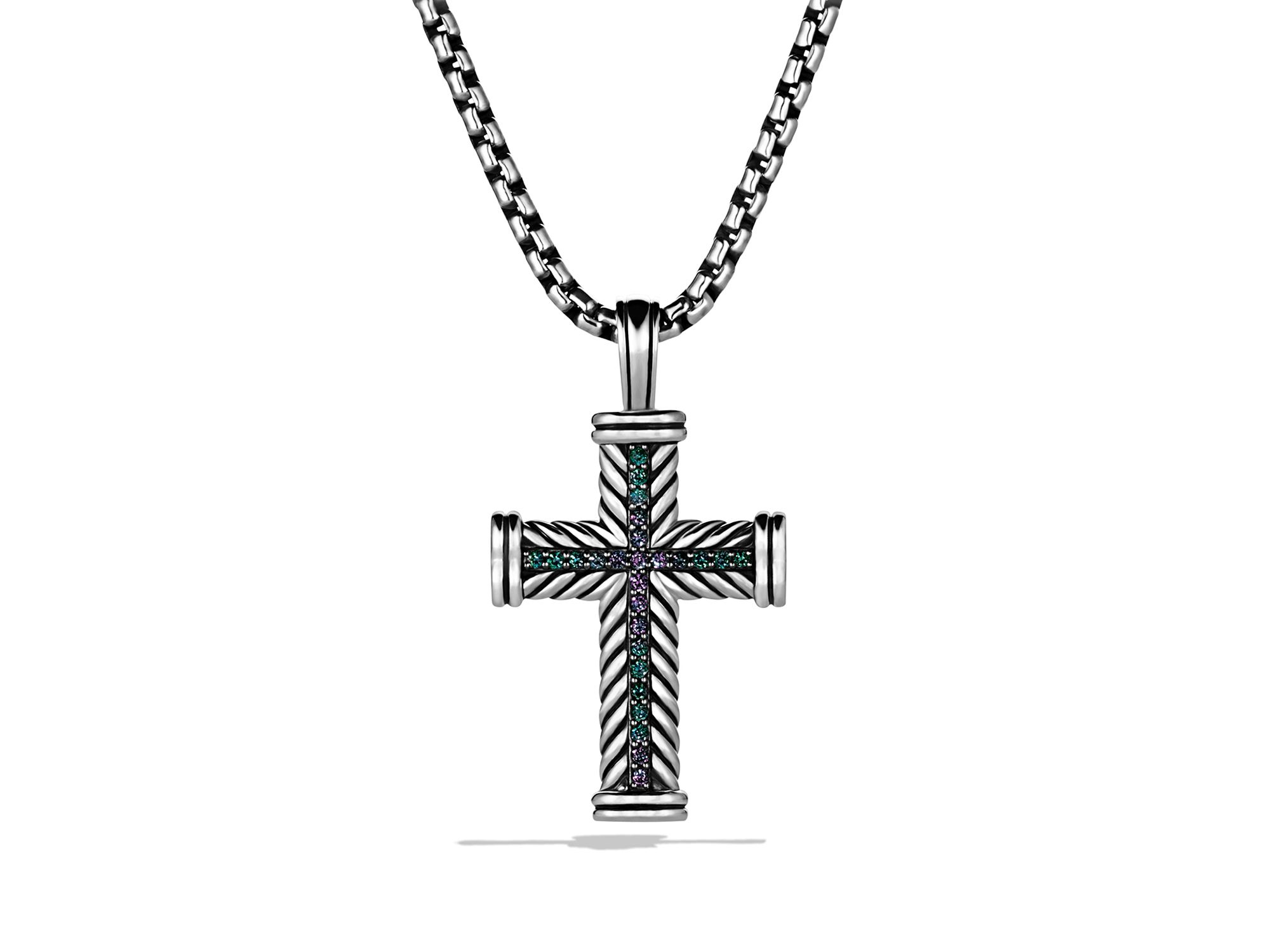 David Yurman Chevron Cross With Color Change Garnet On