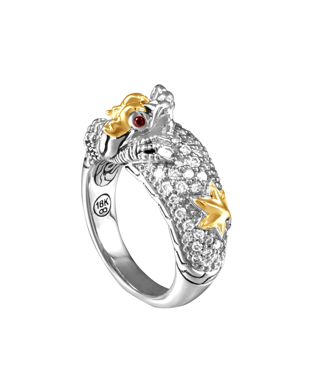 John Hardy Naga Gold Amp Silver Diamond Slim Dome Ring In