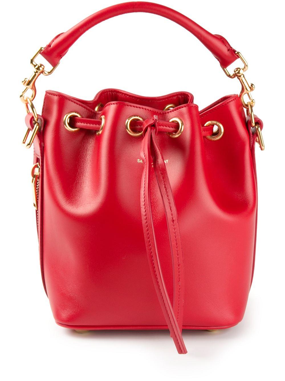 Lyst Saint Laurent Small Emmanuelle Bucket Bag In Red