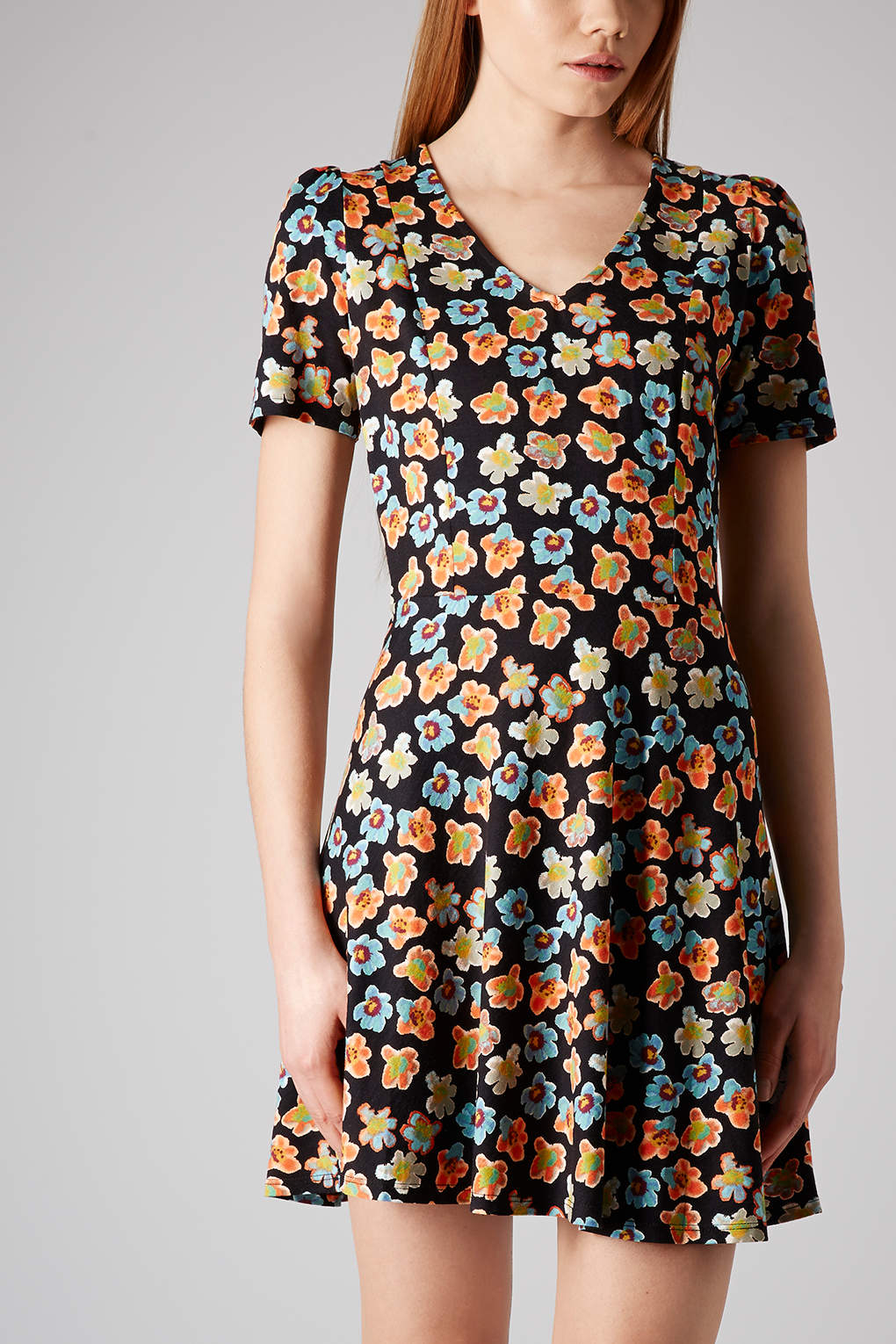 Topshop Ditsy Floral Flippy Dress
