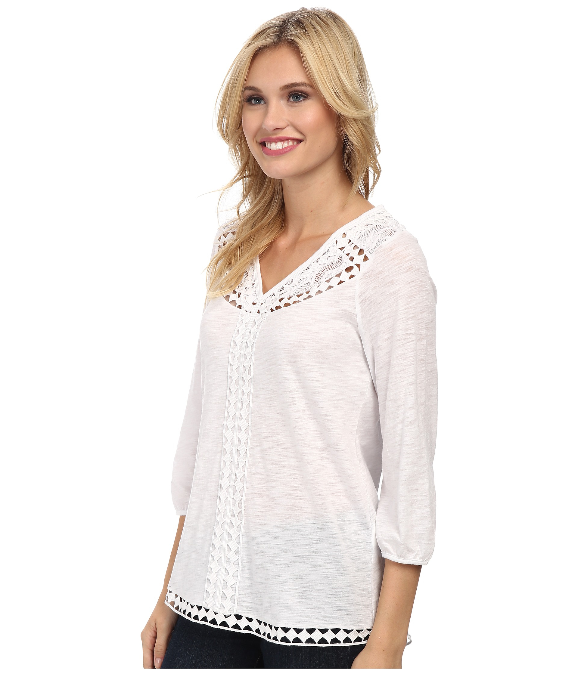 Lucky Brand Diamond Cut Out Top In White Lucky White