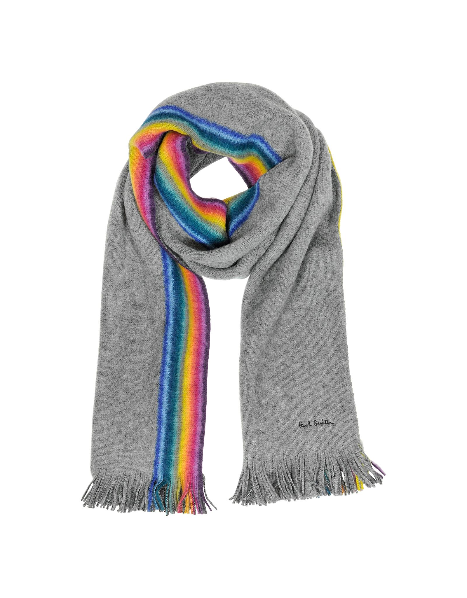 Paul Smith Mens Rainbow Stripe Edge Wool Scarf In Gray