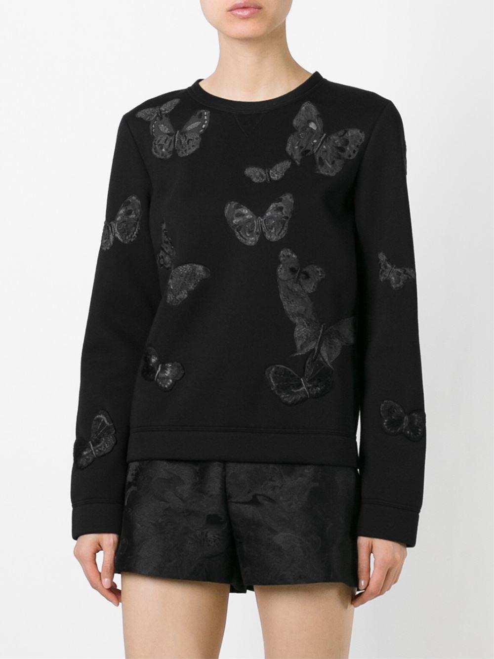 Lyst Valentino Butterflies Embroidered Sweatshirt In Black
