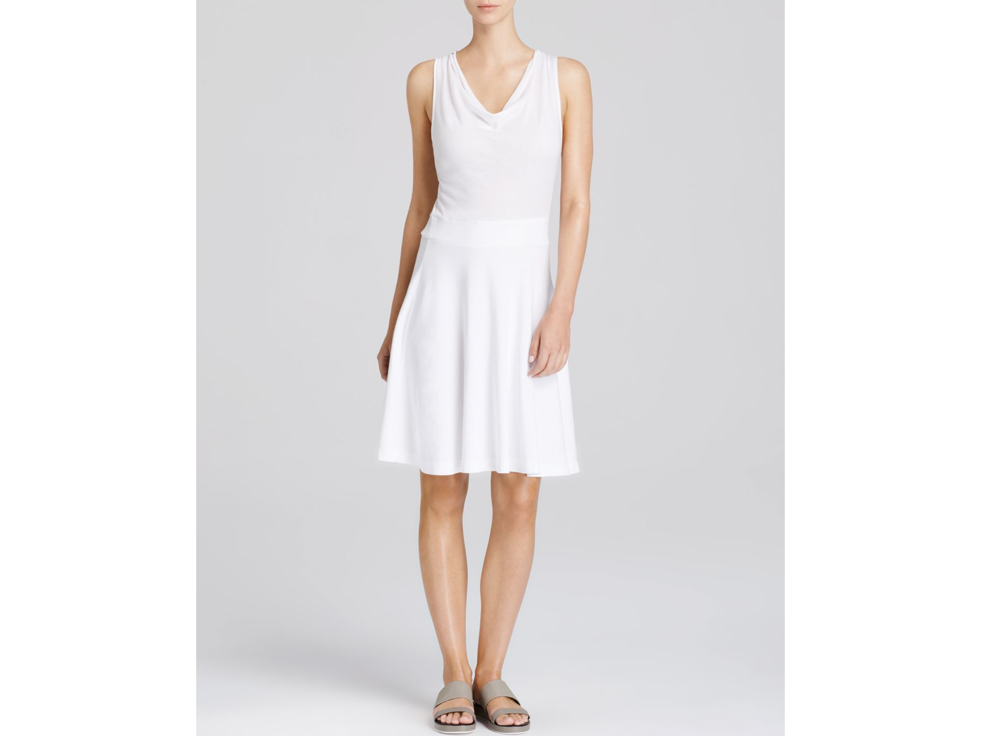 Three Dots Cowl Neck Dress In White