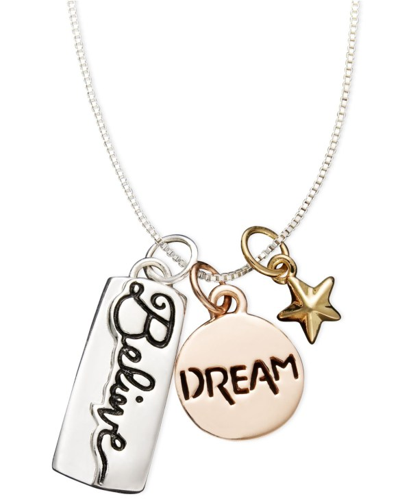 Lyst - Macy'S Sterling Silver Pendant, Dream And Believe ...