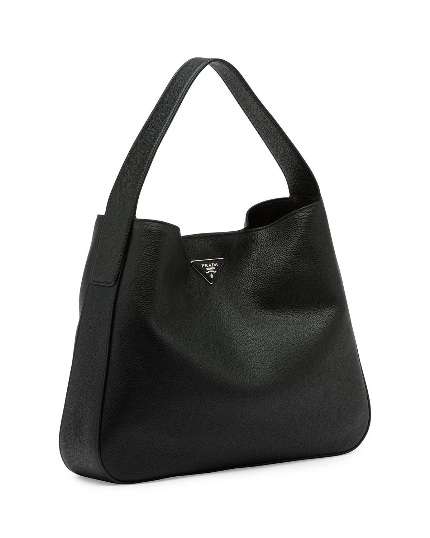 2b0ea15c3075 Prada Vitello Daino Medium Pocket Soft White Textured Leather Hobo Bag  Tradesy