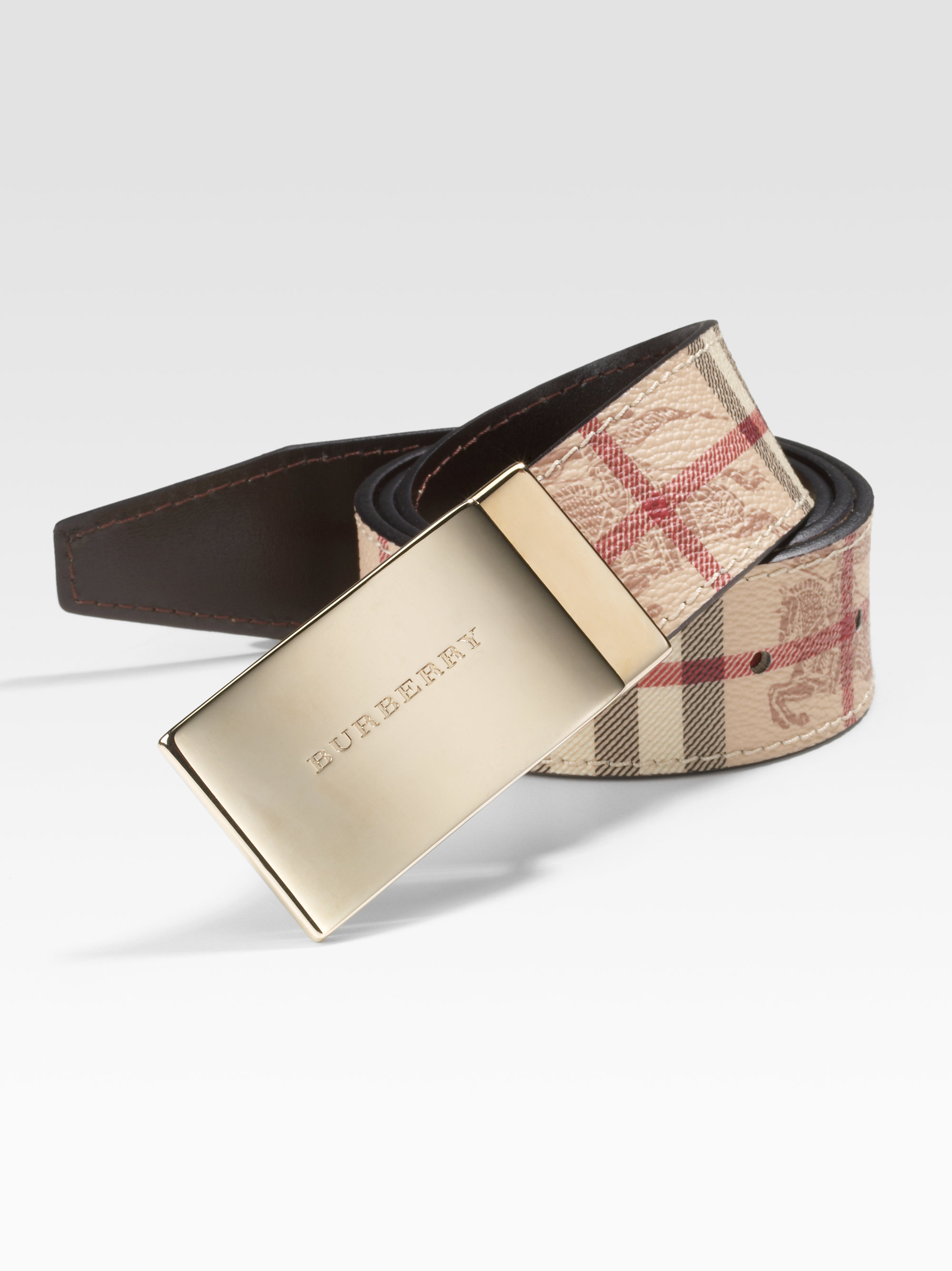 Burberry Sloane Checked Belt In Natural For Men Lyst