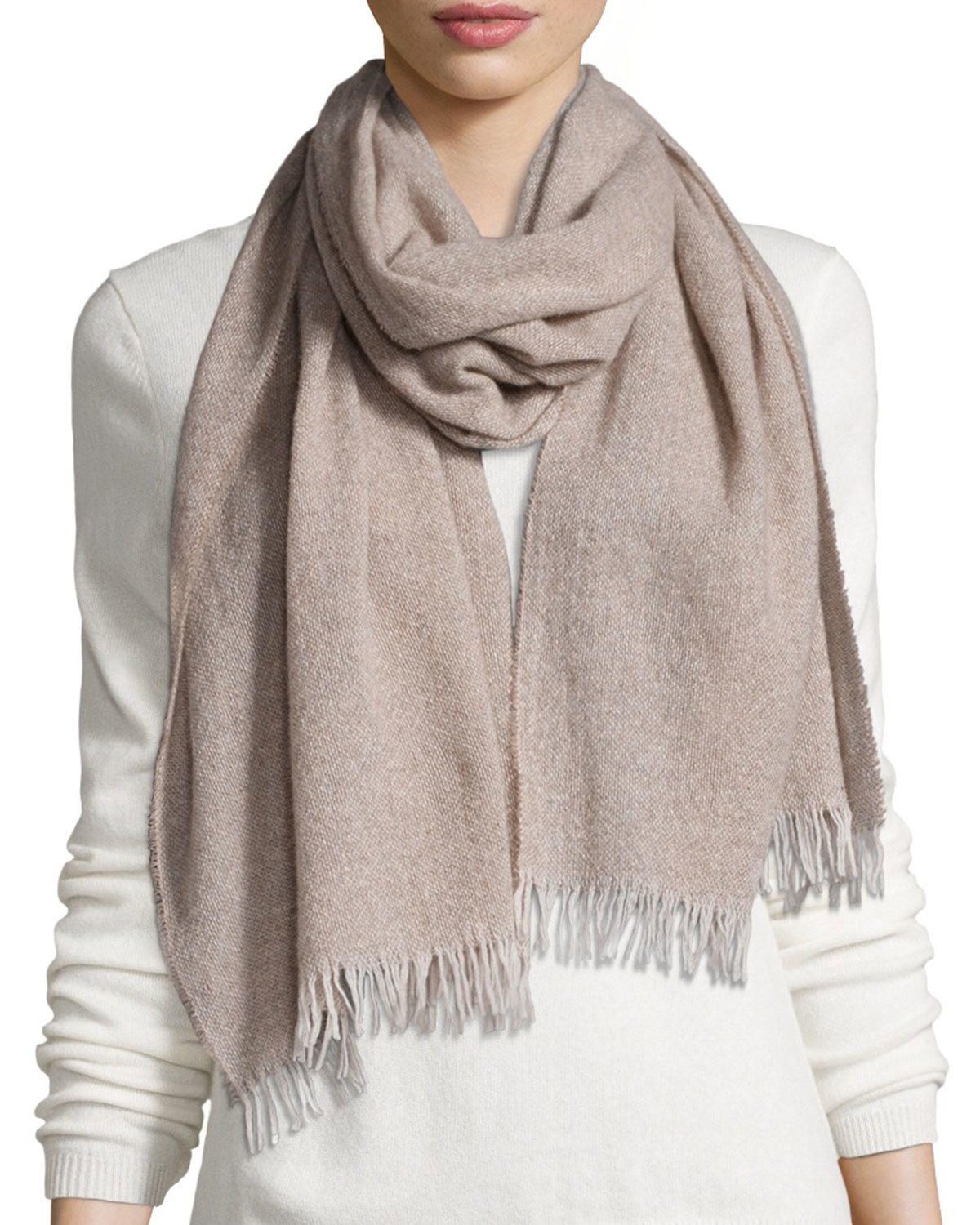 Eileen Fisher Reclaimed Cashmere Blend Scarf In Natural