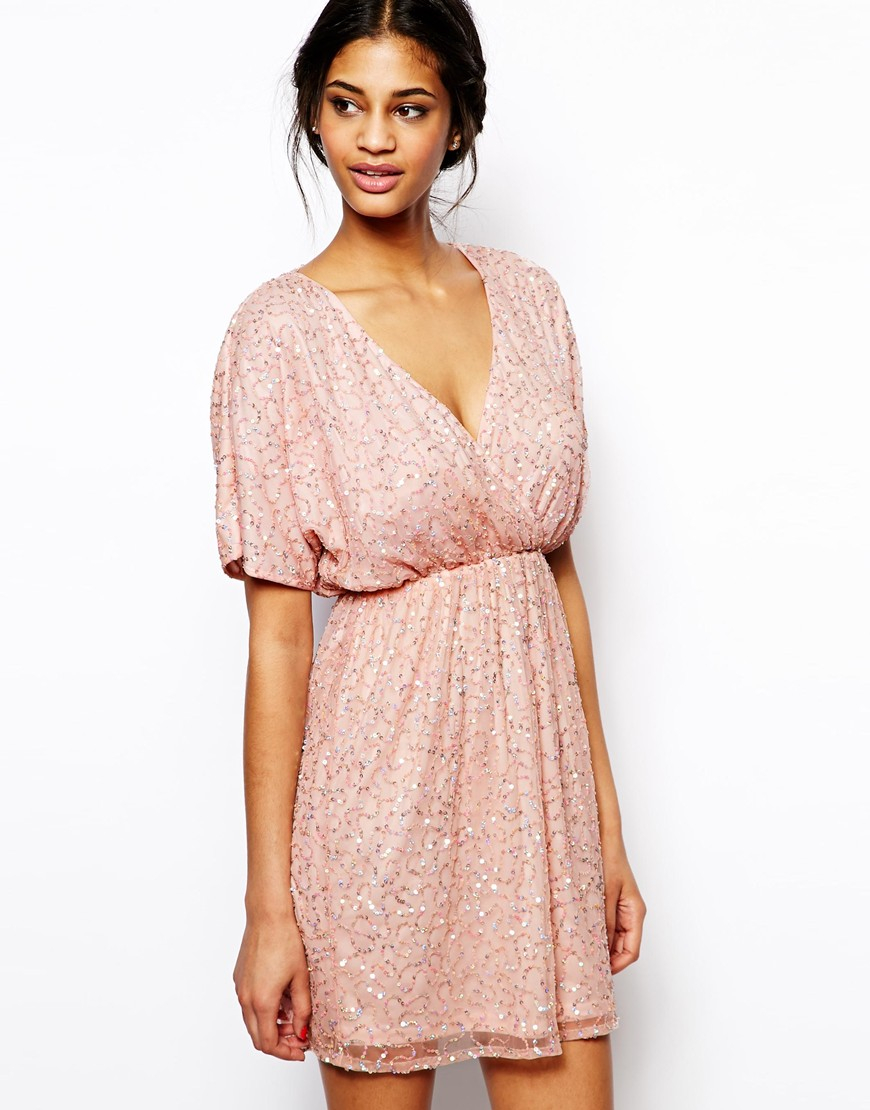 Lyst Asos Sequin Kimono Mini Dress In Pink