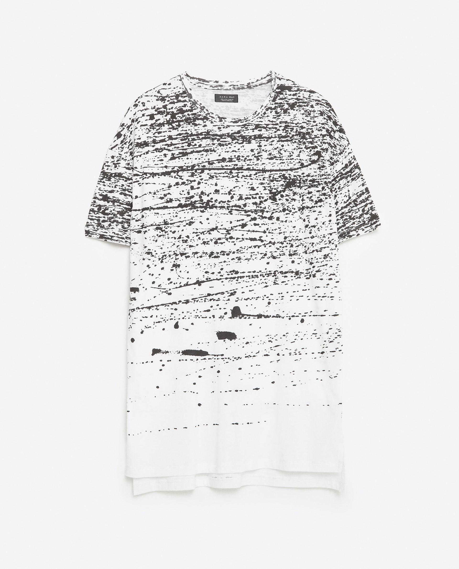 Zara Paint Splatter T Shirt In Black For Men