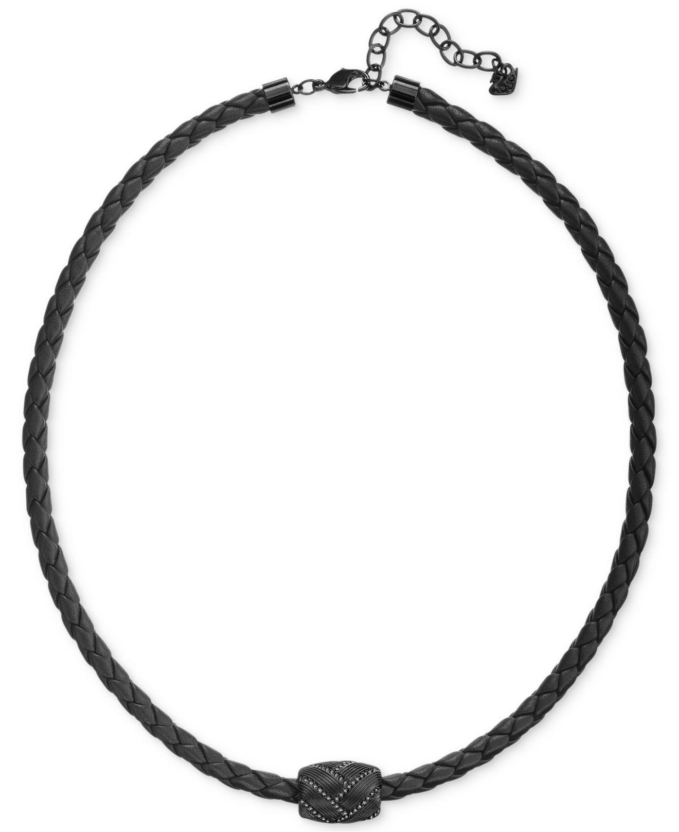 Swarovski Men S Caesar Pvd Metal Black Leather Necklace In