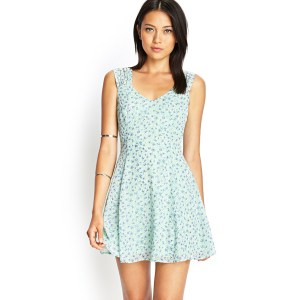 9263a7bbe6a Seemly Forever 21 Green Floral Chiffon Cutout Dress Product 1 20179155 3  337335270 Normal Summer Dresses