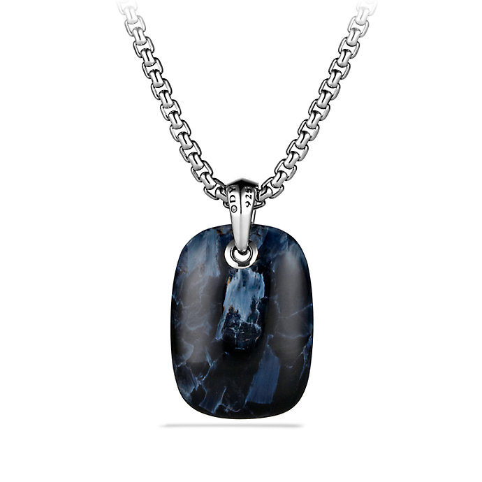 David Yurman Exotic Stone Tablet Necklace In Blue For Men