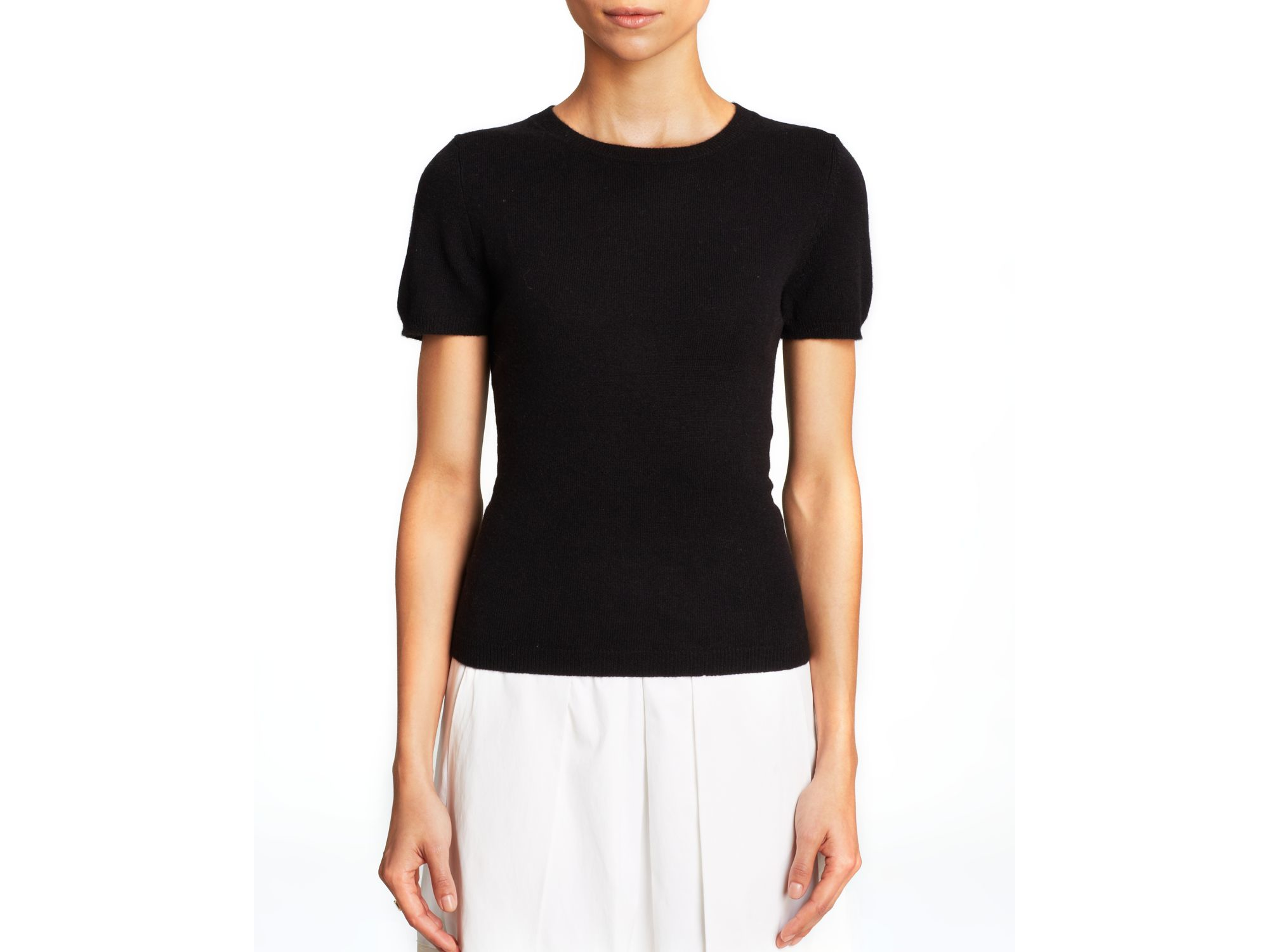 C By Bloomingdale's Short Sleeve Cashmere Sweater In Black