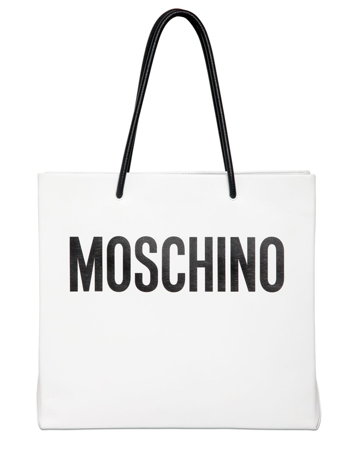 Moschino Moshino Shopping Leather Tote Bag In White White