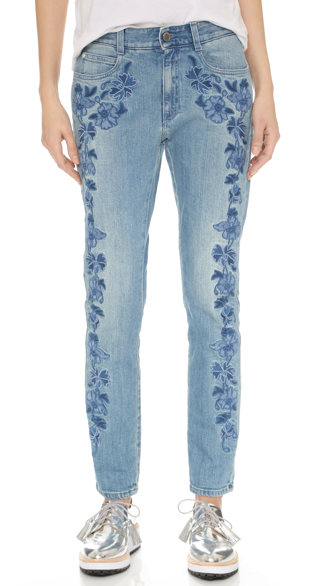 Lyst Stella Mccartney Embroidered Floral Jeans In Blue