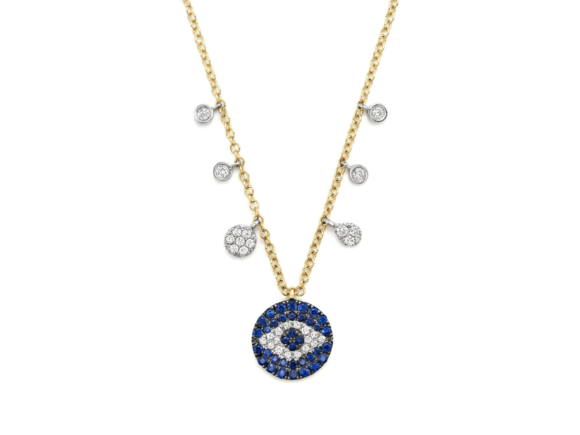 Meira T Sapphire And Diamond Evil Eye Necklace In 14k