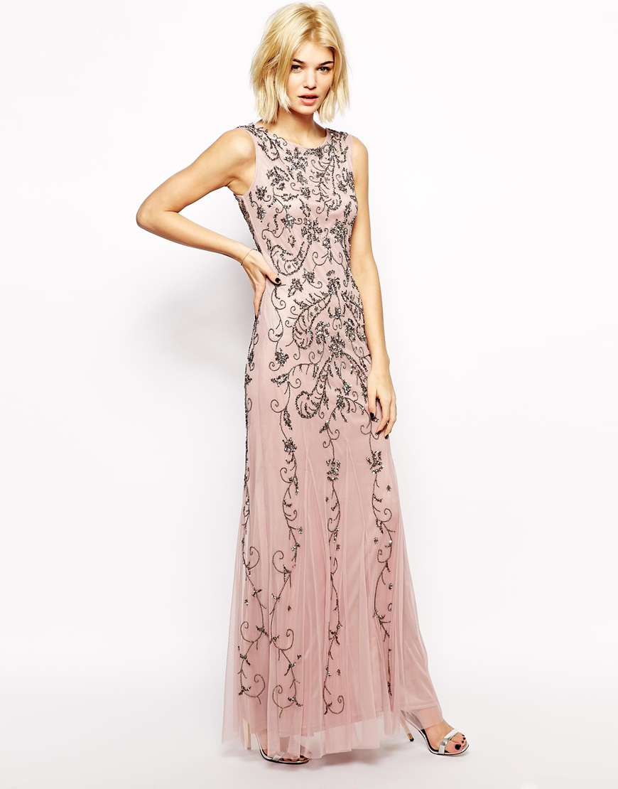 Lyst Mango Embellished Maxi Dress In Natural