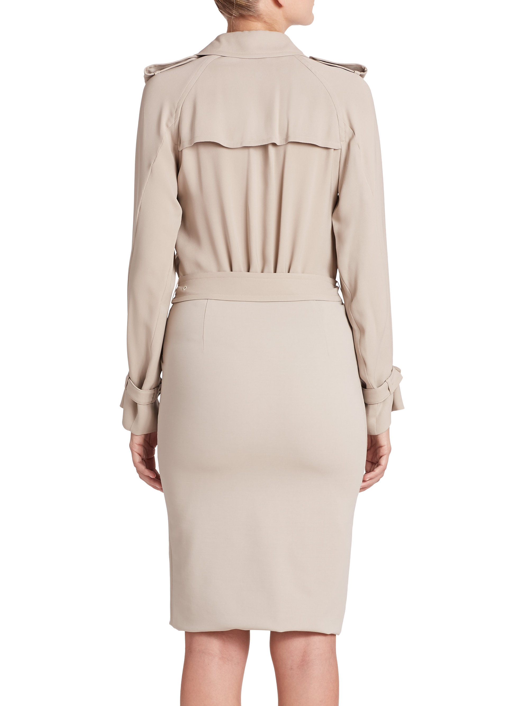 Max Mara Double Breasted Trench Dress In Natural Lyst