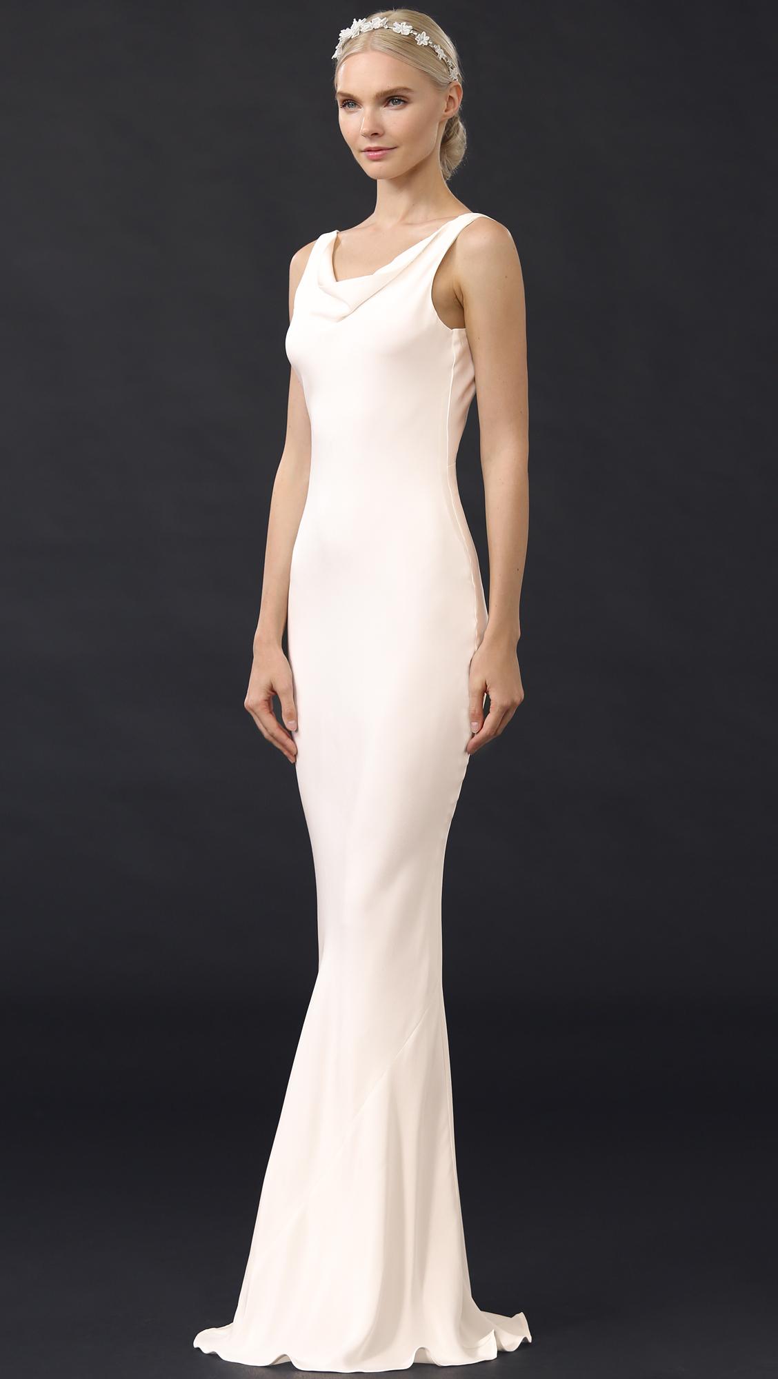 Stone Cold Fox Silk Delarosa Gown In White Lyst