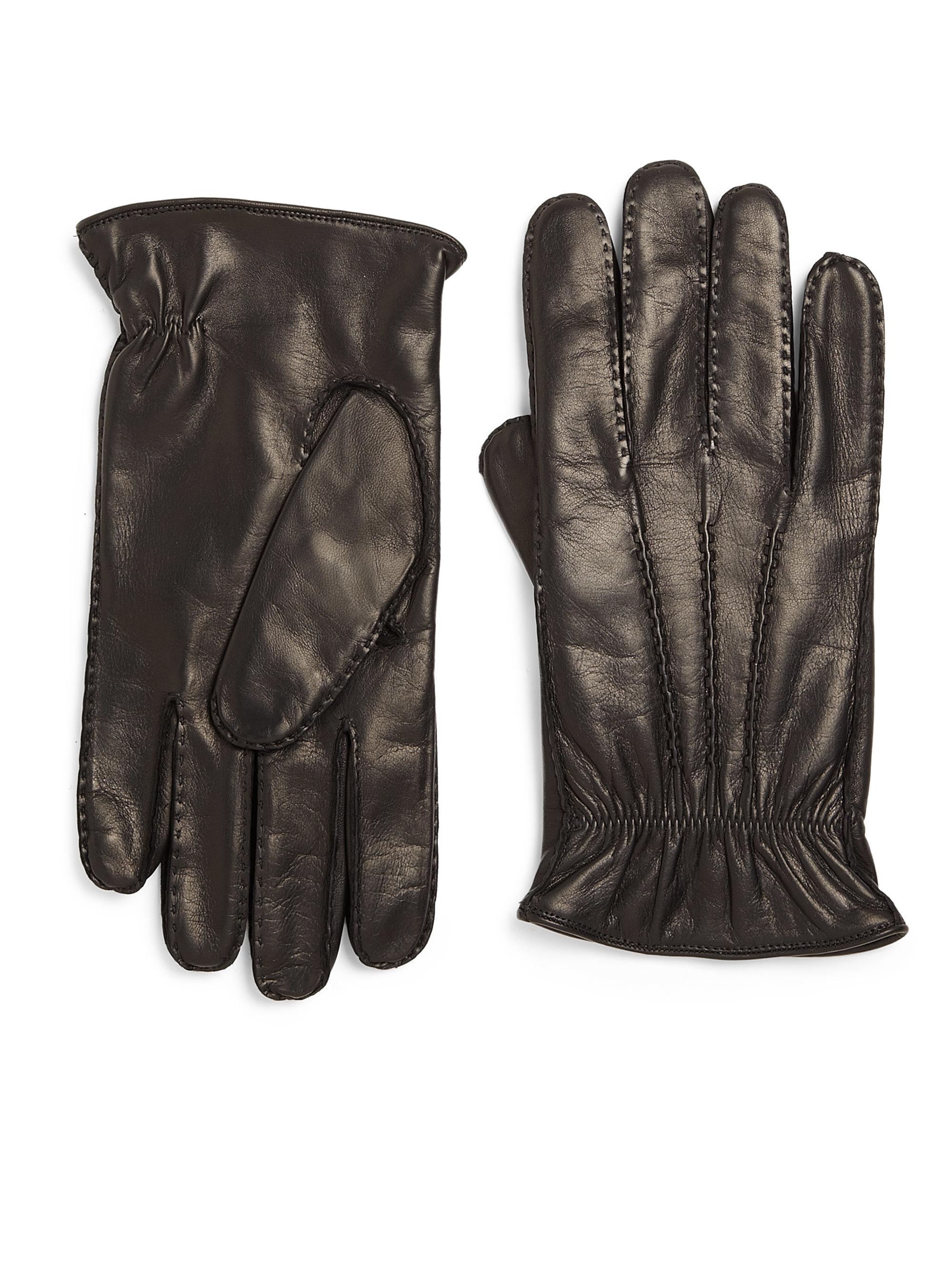 Portolano Leather Gloves In Black For Men