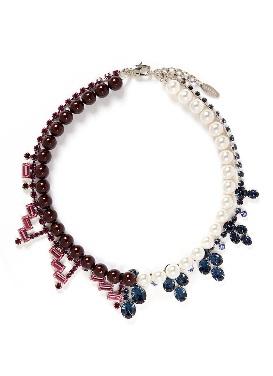 Lyst Joomi Lim Crystal Faux Pearl Double Strand Necklace