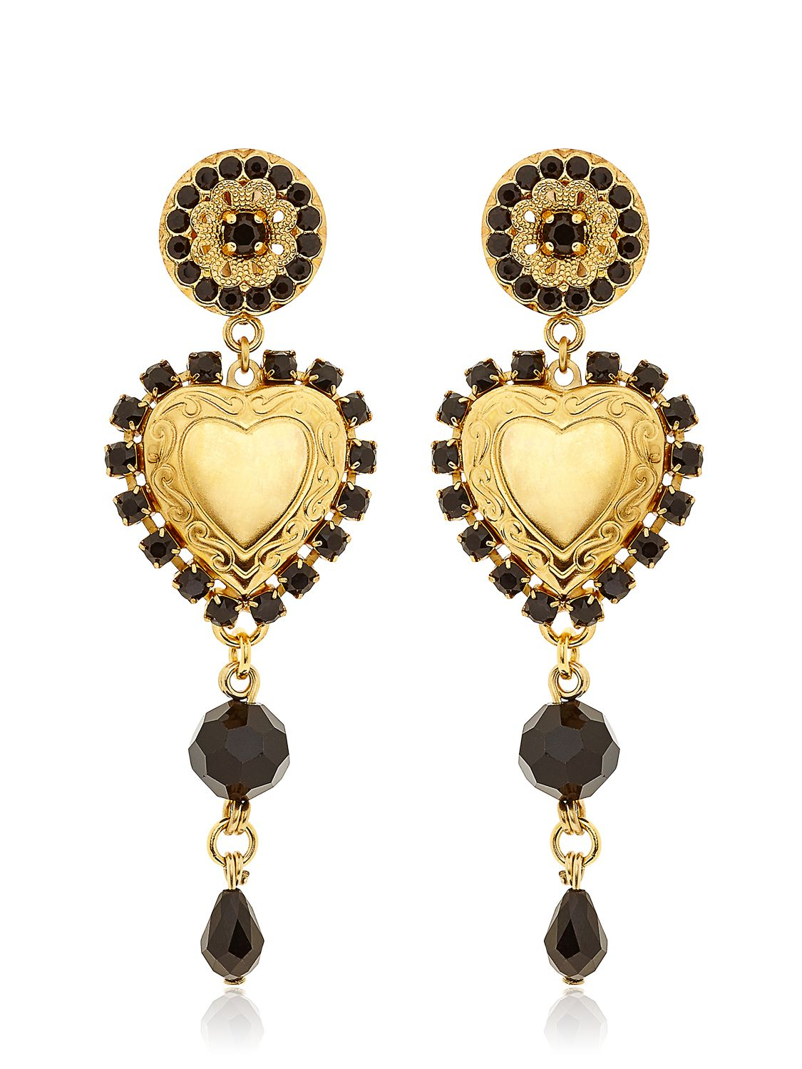 Dolce Amp Gabbana Heart Pendant Clip Earrings In Metallic Lyst