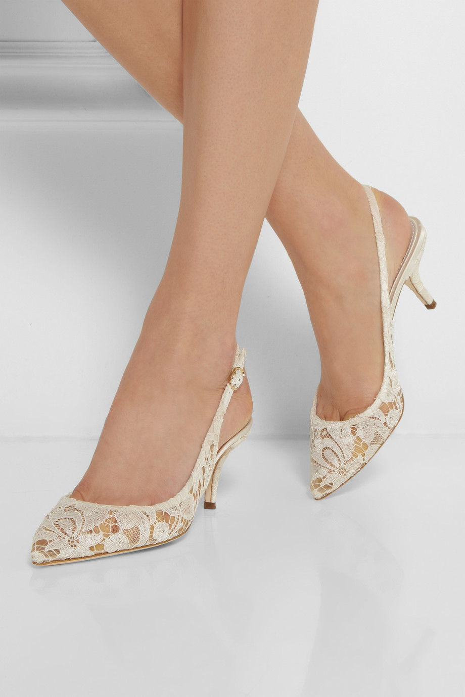 Dolce Amp Gabbana Lace Slingback Pumps In White Lyst