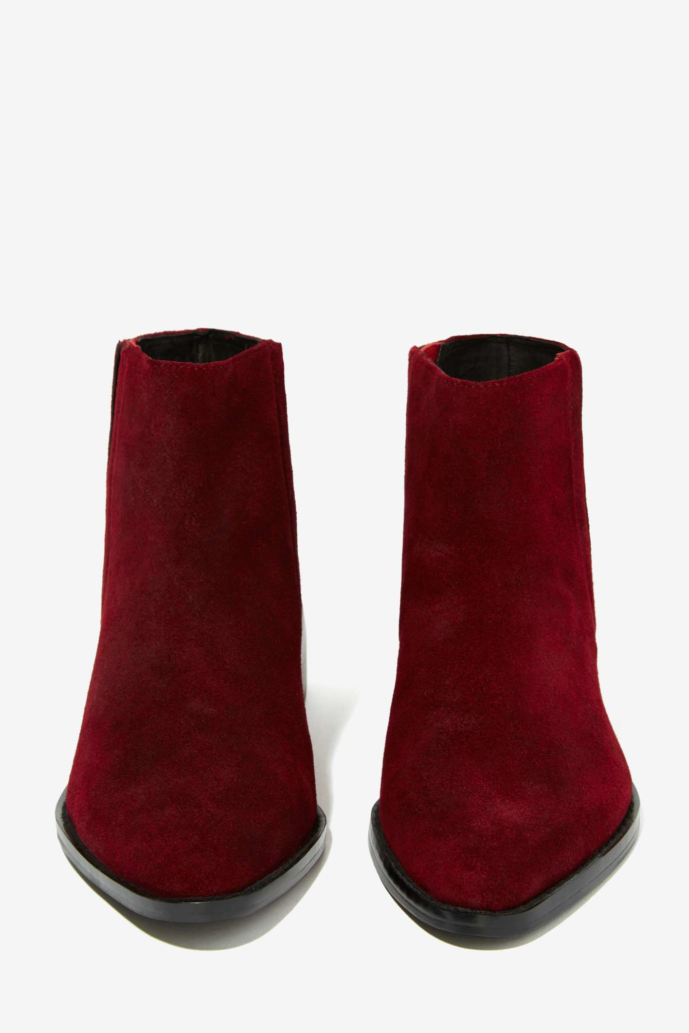 Lyst Grey City West Suede Ankle Boot Burgundy In Red